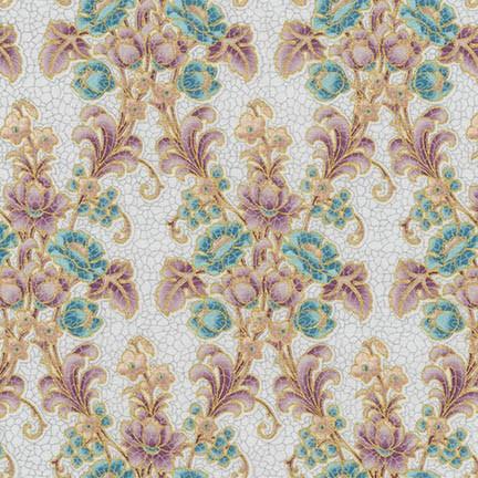 Villa Romana - Floral Scroll on Light Grey Mosaic