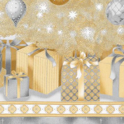Robert Kaufman - Champagne Christmas Tree & Ornaments panel
