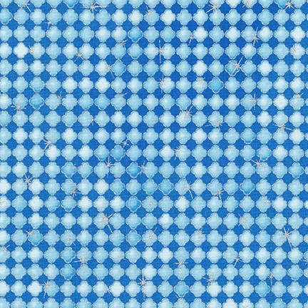 Blue and Light Blue Design with Silver Metallic:  Winter's Grandeur for Robert Kaufman