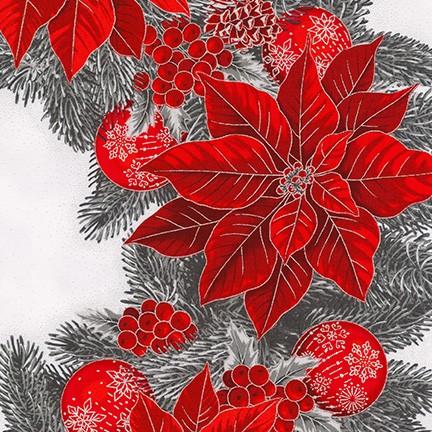 Holiday Flourish 19252-93 SCARLET wreath panel