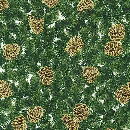 Pine boughs and pine cones IVORY from Holiday Flourish 13