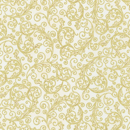 KAUF- Holiday Flourish 13 Ivory/Gold Scrollwork