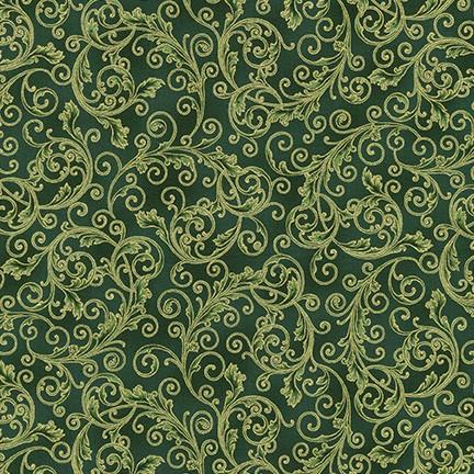 Holiday Flourish Green with Metallic Gold Scroll