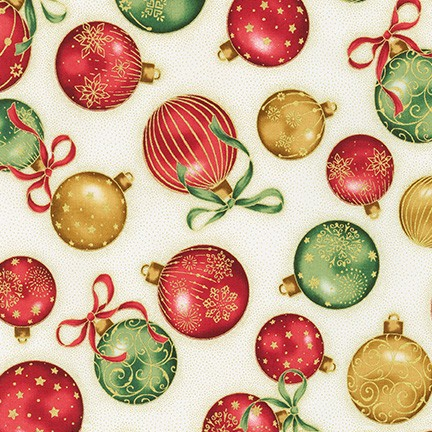 Holiday Flourish Cream with Tossed Ornaments Metallic Gold
