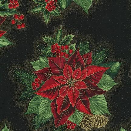 Robert Kaufman Holiday Flourish 13 SRKM-19257-2 BLACK