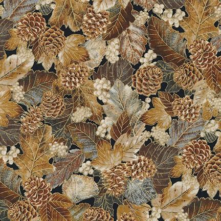 Autumn Beauties Metallic Leaf and Pine cones