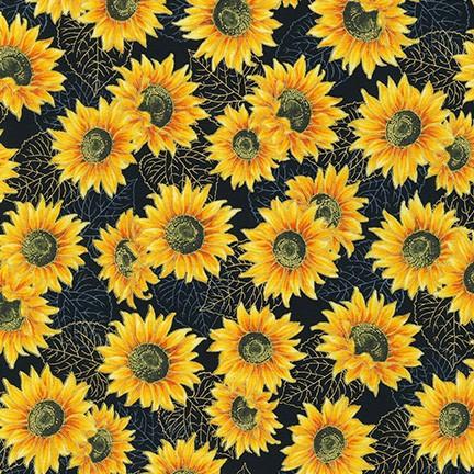 Kaufman Autumn Beauties Sunflowers Yellow/Black Metallic