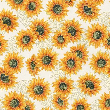Autumn Beauties Metallic Sunflowers SRKM-19320-14 NATURAL by Robert Kaufman Fabrics