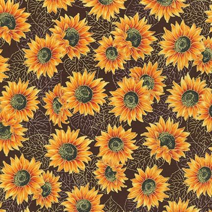 Autumn Beauties Sunflowers on Brown