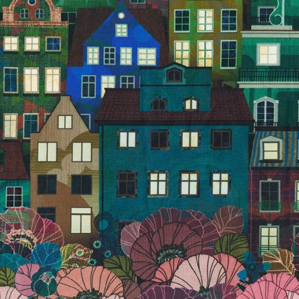 Robert Kaufman Happy Place Houses - Night