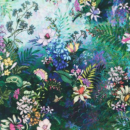 Topia Wildflower in blue by Robert Kaufman Fabrics