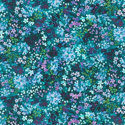 Robert Kaufman Topia Alpine Flowers- Teal (0.7m remnant)