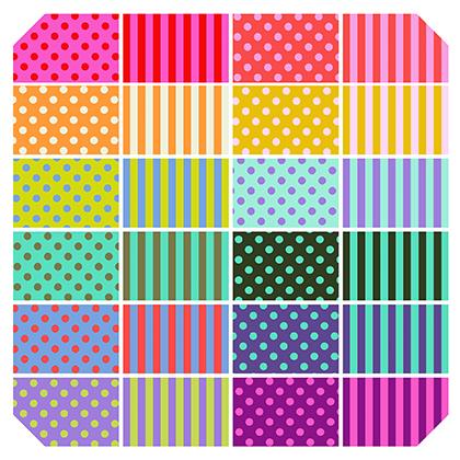 Tula Pink - 4.75 Inch HEXI - Pom Poms & Stripes