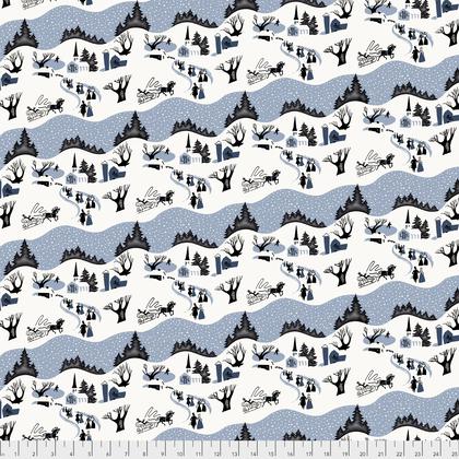 Mid-Century Christmas: Winter Village - Blue