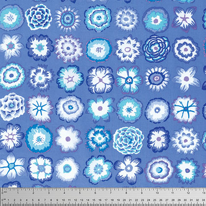 KF-Button Flowers Blue