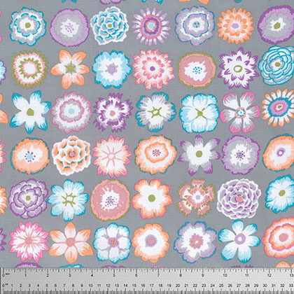 KF-Button Flowers Grey