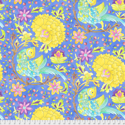 PWLH008 BLUE  BIRD IN HAND COLLECTION BY LAURA HEINE FOR FREE SPIRIT FABRICS