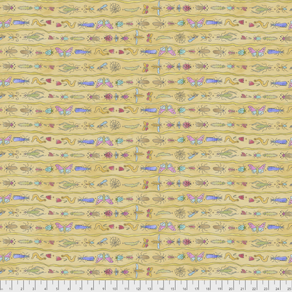 PWLH010 GOLD  BIRD IN HAND COLLECTION BY LAURA HEINE FOR FREE SPIRIT FABRICS