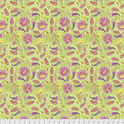 PWLH012 GREEN  BIRD IN HAND COLLECTION Grapes BY LAURA HEINE FOR FREE SPIRIT FABRICS
