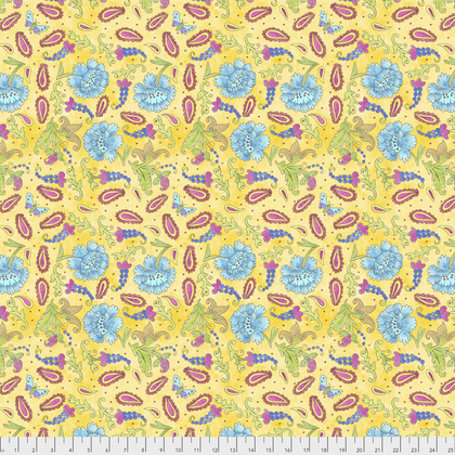 PWLH012 YELLOW  BIRD IN HAND COLLECTION  Grapes BY LAURA HEINE FOR FREE SPIRIT COLLECTION
