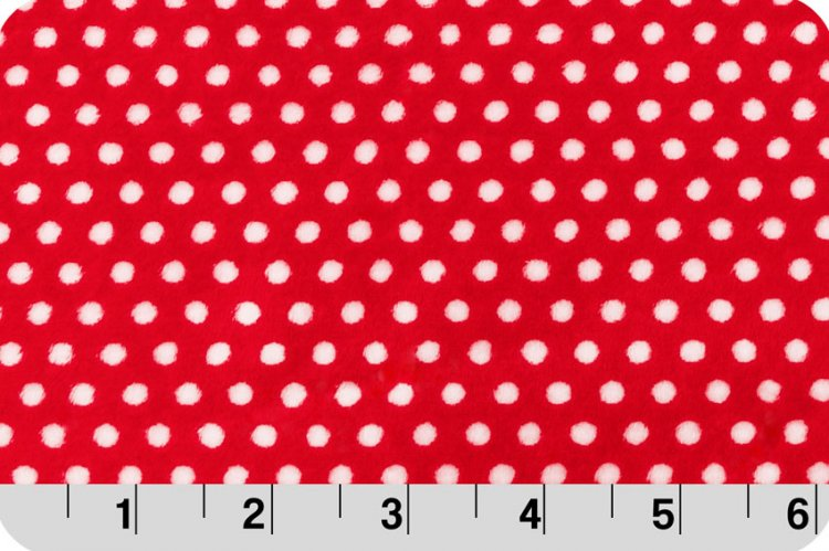 SWISS DOT CUDDLE SCARLET RED W/ SNOW WHITE DOTS SHANNON FABRICS