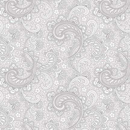 Cream & Sugar VIII Grey Paisley Fabric Yardage 4602-90