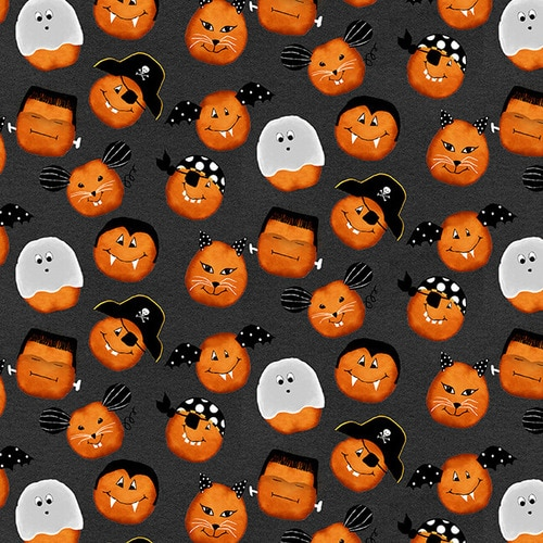 CHEEKYVILLE PUMPKIN FACES 4664 99 DK GREY