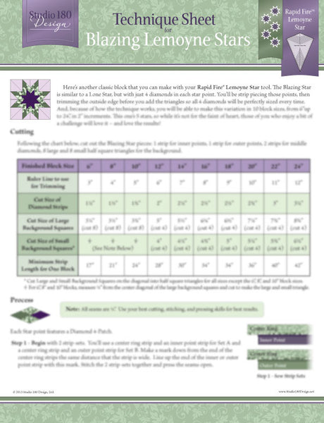 Blazing Lemoyne Star Technique Sheet