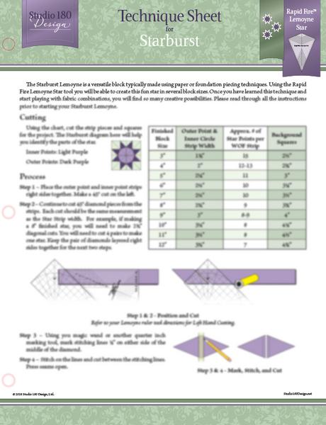 Starburst Lemoyne Technique Sheet - Deb Tucker - Studio 180 Design