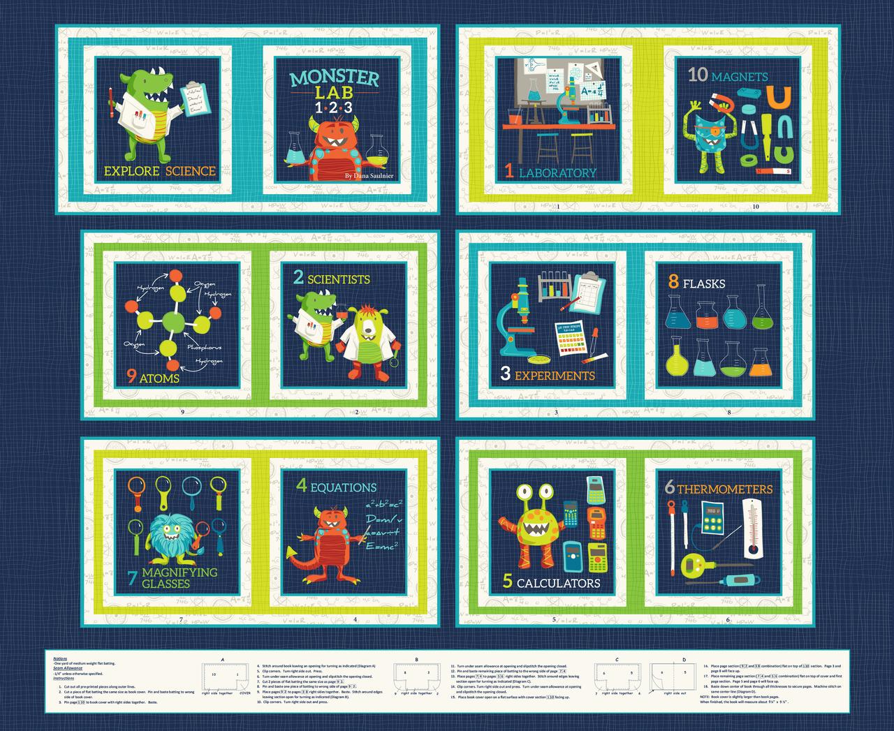 Monster Lab Book Panel 4430P-77