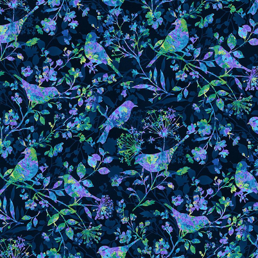 Studio e Fabrics Feather & Flora Birds and Wild Flowers Midnight 4492-77