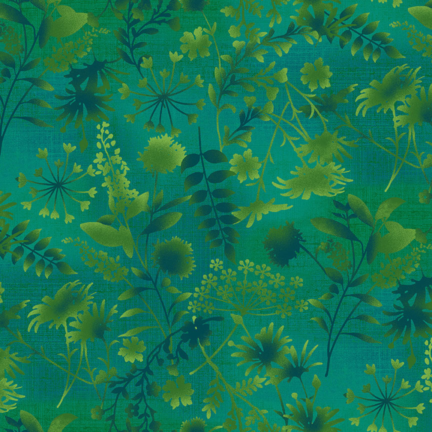 Feather & Flora Green Wildflower Toss designed by Elizabeth Isles