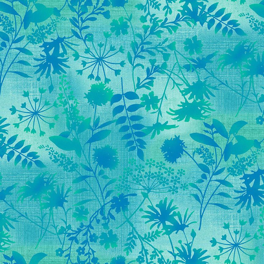 Feather & Flora Light Jade Wildflower Toss designed by Elizabeth Isle