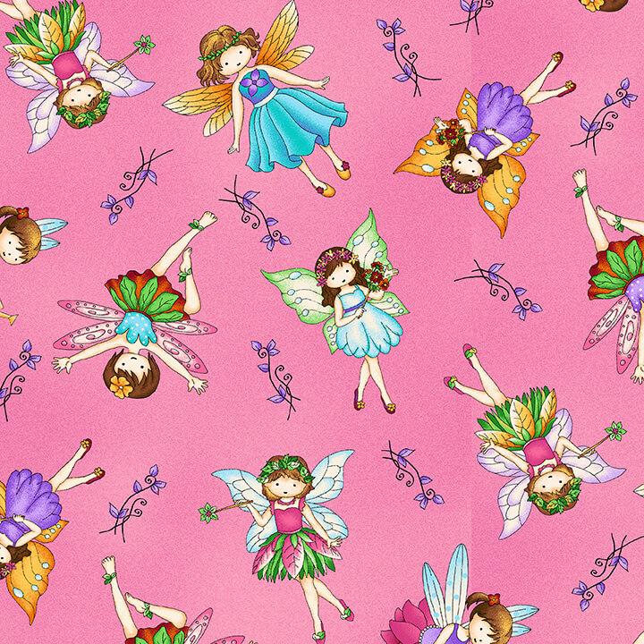 Fairy Land from Studio E #4591-22-  Pink Allover Fairies