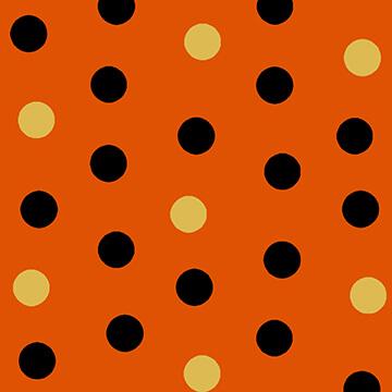 Cheekyville -Polk a dot - multi dots on orange
