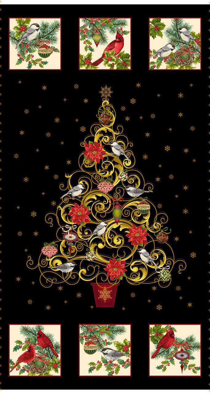 Christmas Joy Tree APX. 24in Panel w/Metallic  4690PM 99 Black