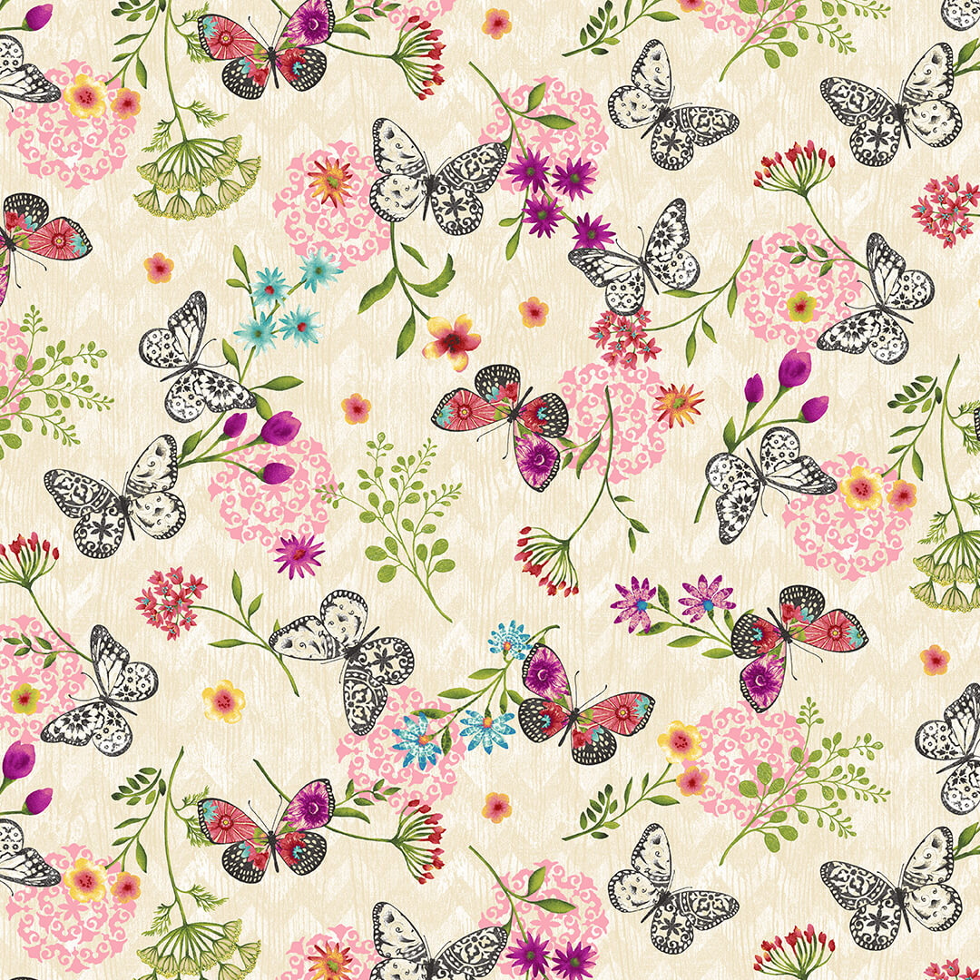 Butterfly Dreams cream small print