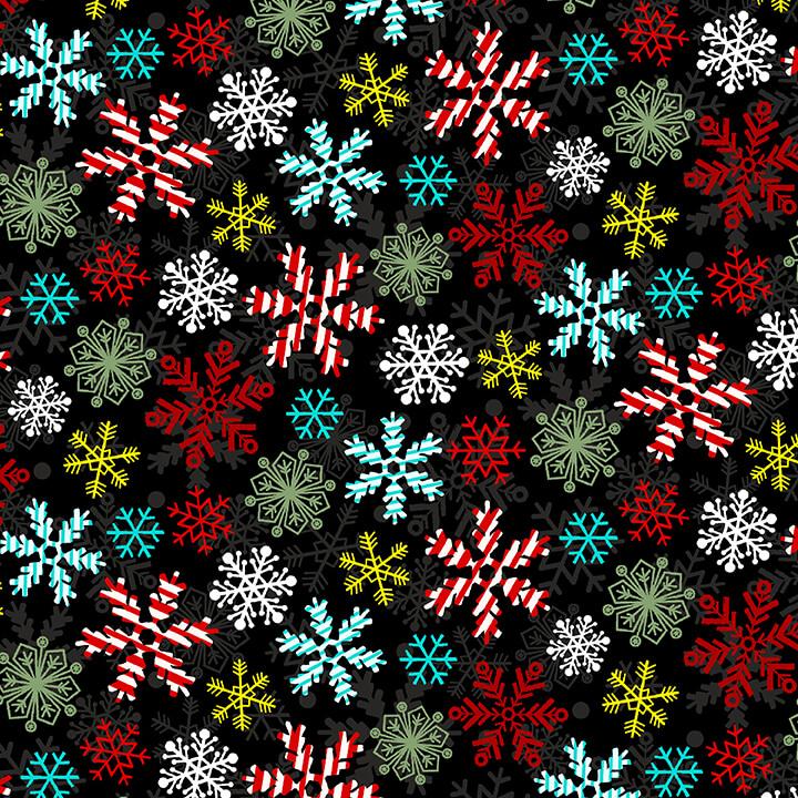 Yuletide Cheer Snowflakes 4725-99 Black