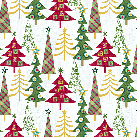 MT -  Studio E - Holly Jolly Chritmas - Cream/Trees