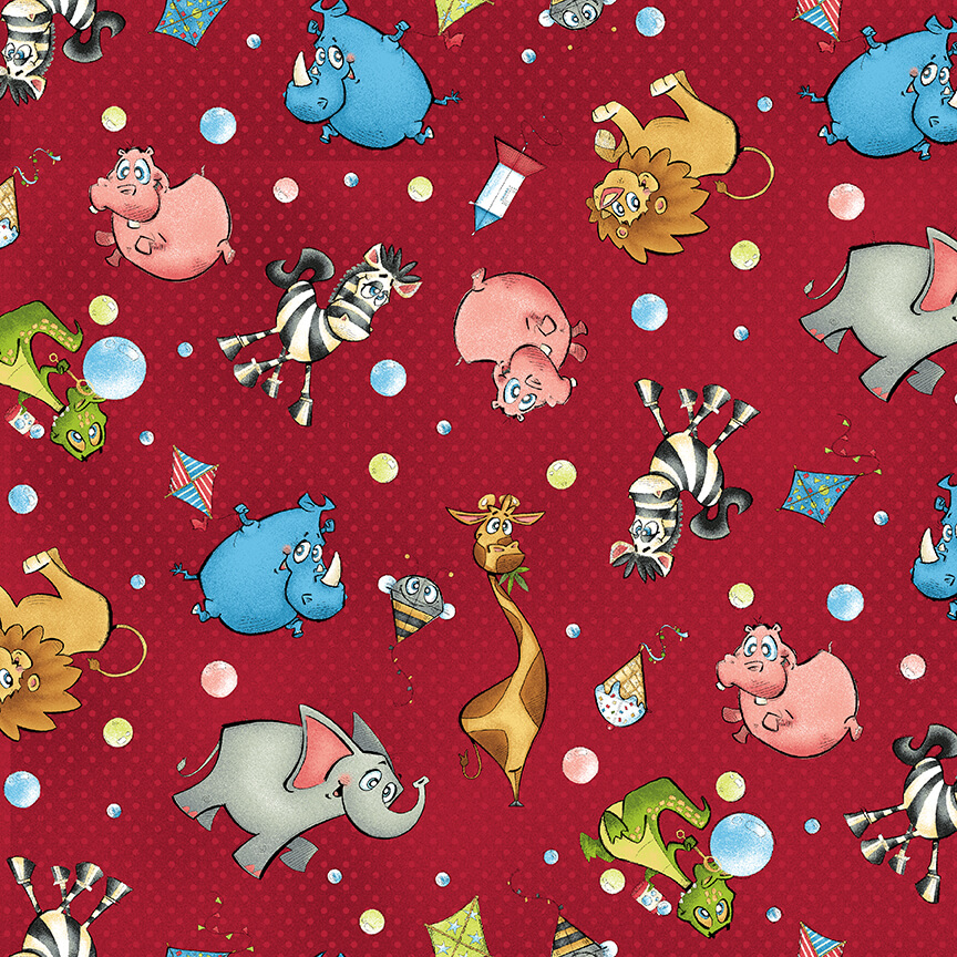 4793-88 Scatter Animals on Red