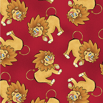 A Jungle Story - Tossed Lions, Red - by Eric Sturtevant for Studio E Fabrics