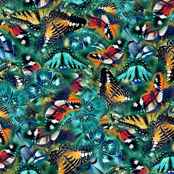 Butterflies Tossed 4815-76 Teal