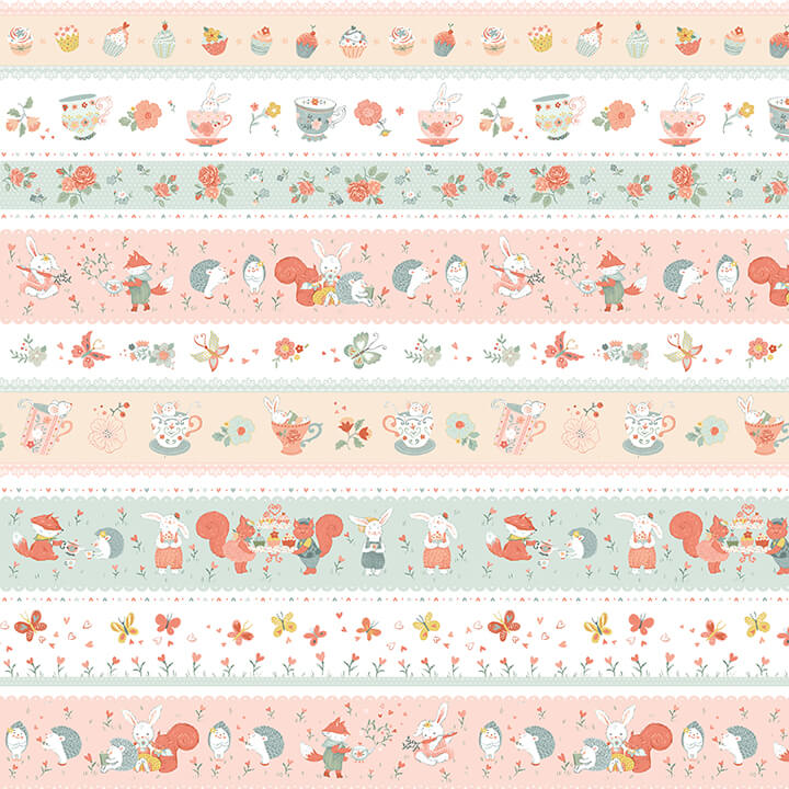 Panel 50 Woodland Tea Time 4835-12 Aqua/Pink