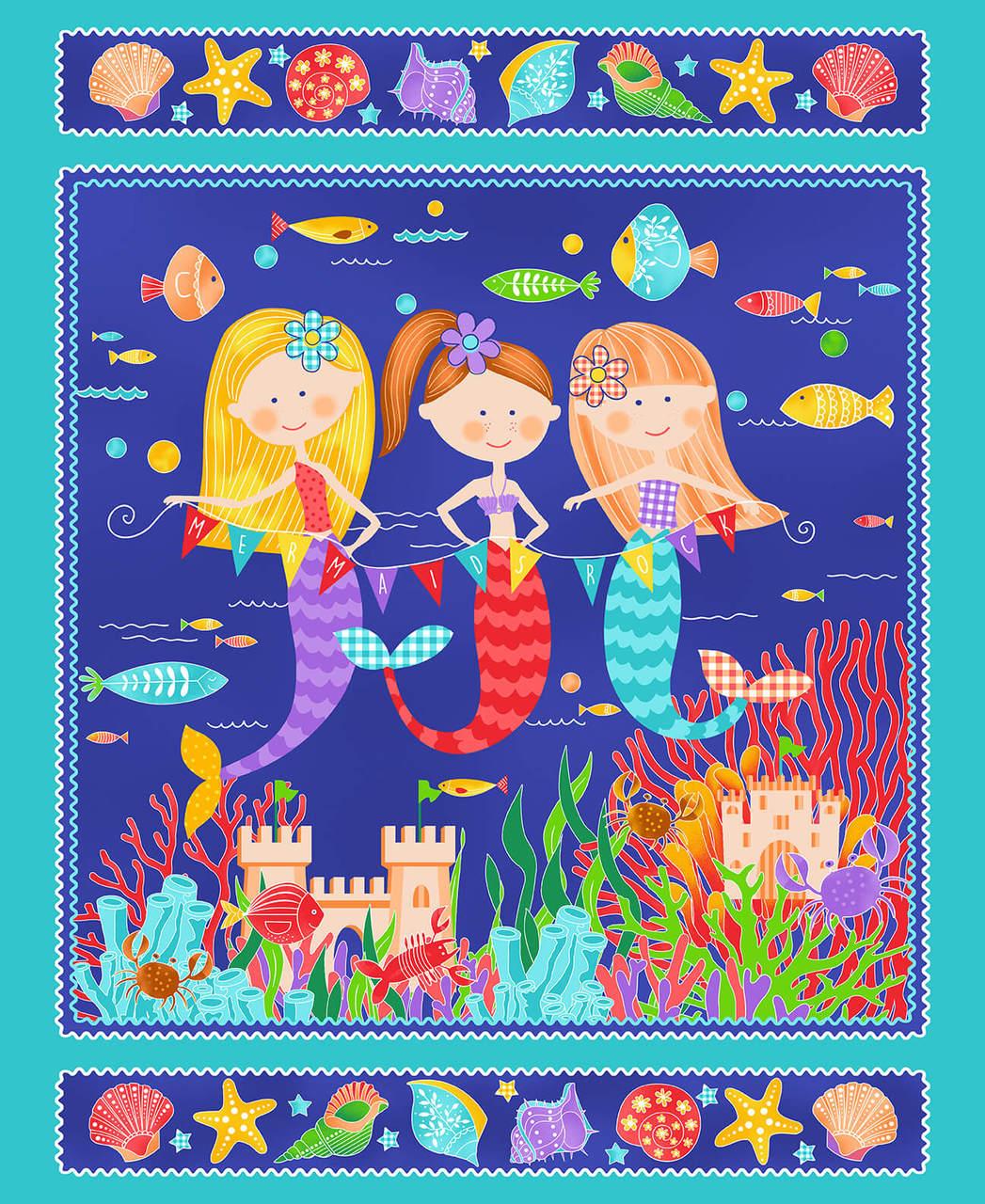 1 yd. panel 4838P-76 Turq mermaids