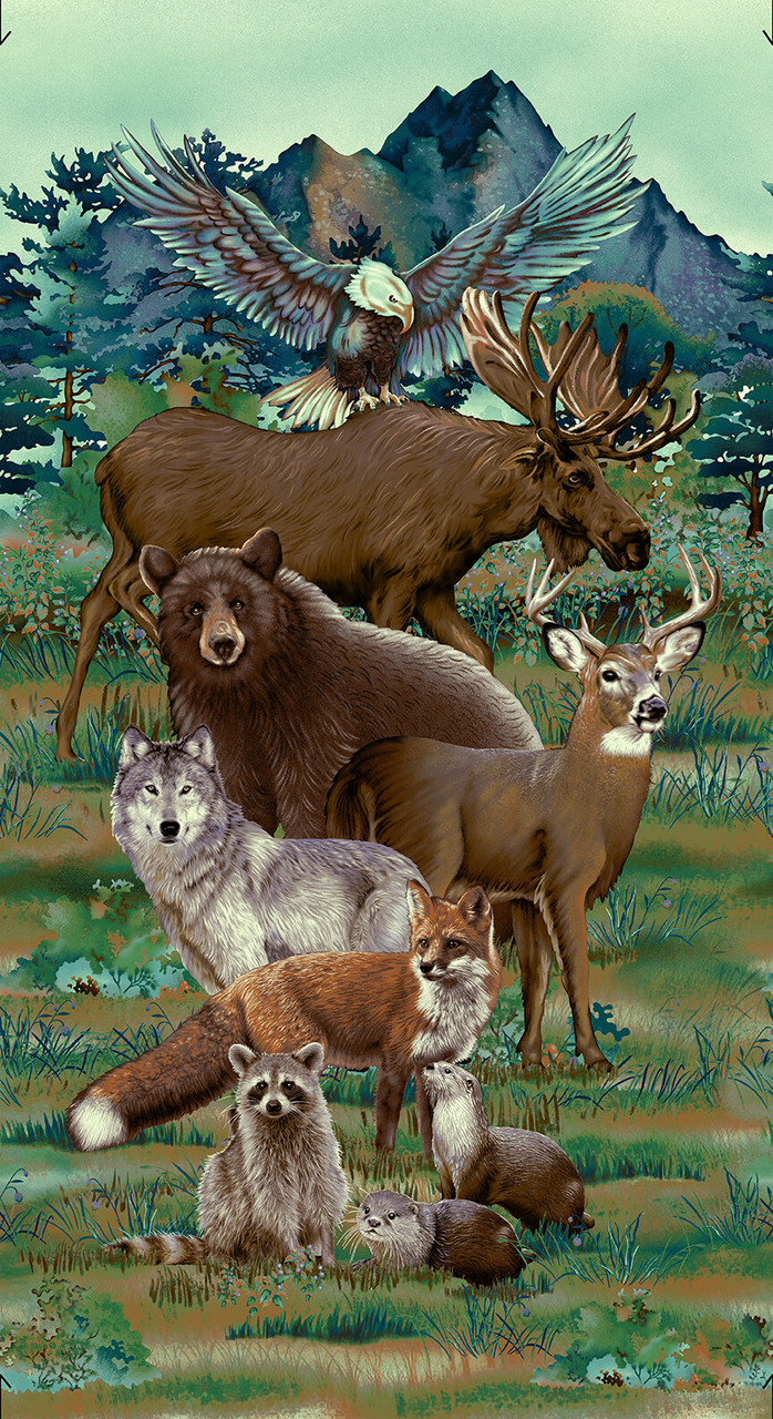 Woodland Wonders Animal Panel by Elisabeth Isles for Studio E, 4866P-76 Spruce