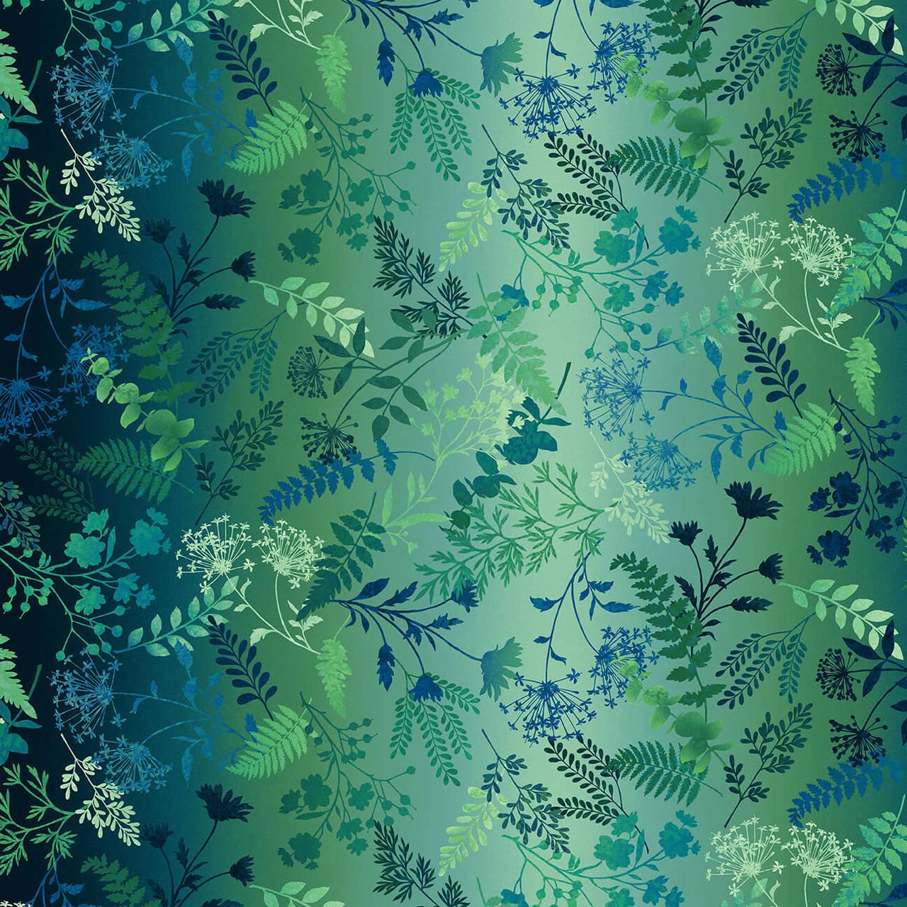 Woodland Wonders 4870-77 Navy Wildflower Ombre