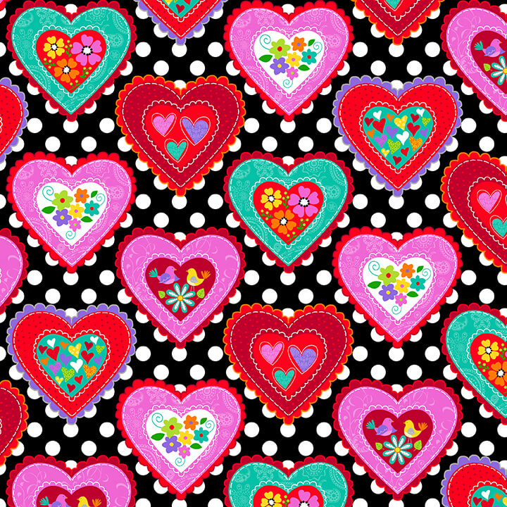 Large Hearts Love is Forever 4933-98  Black/Red
