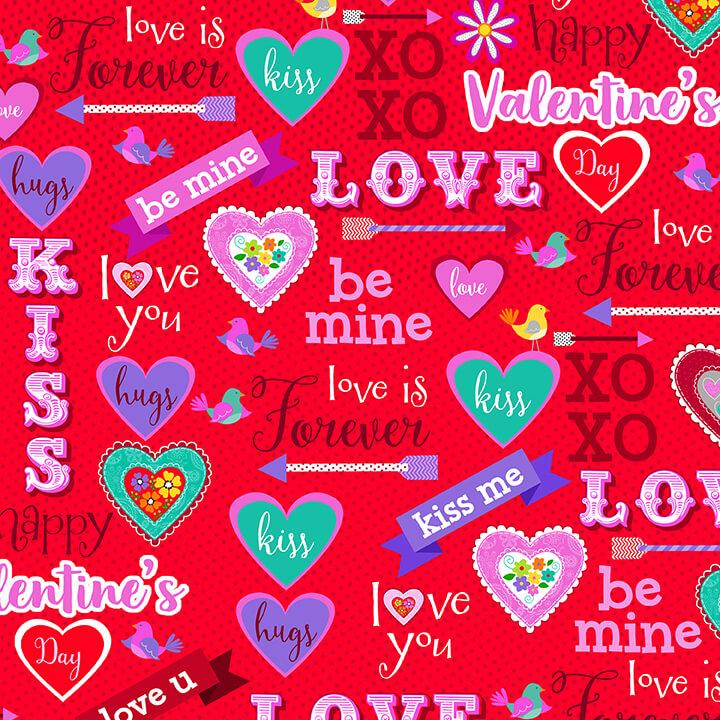 Valentine Words & Hearts 4938-88 Red