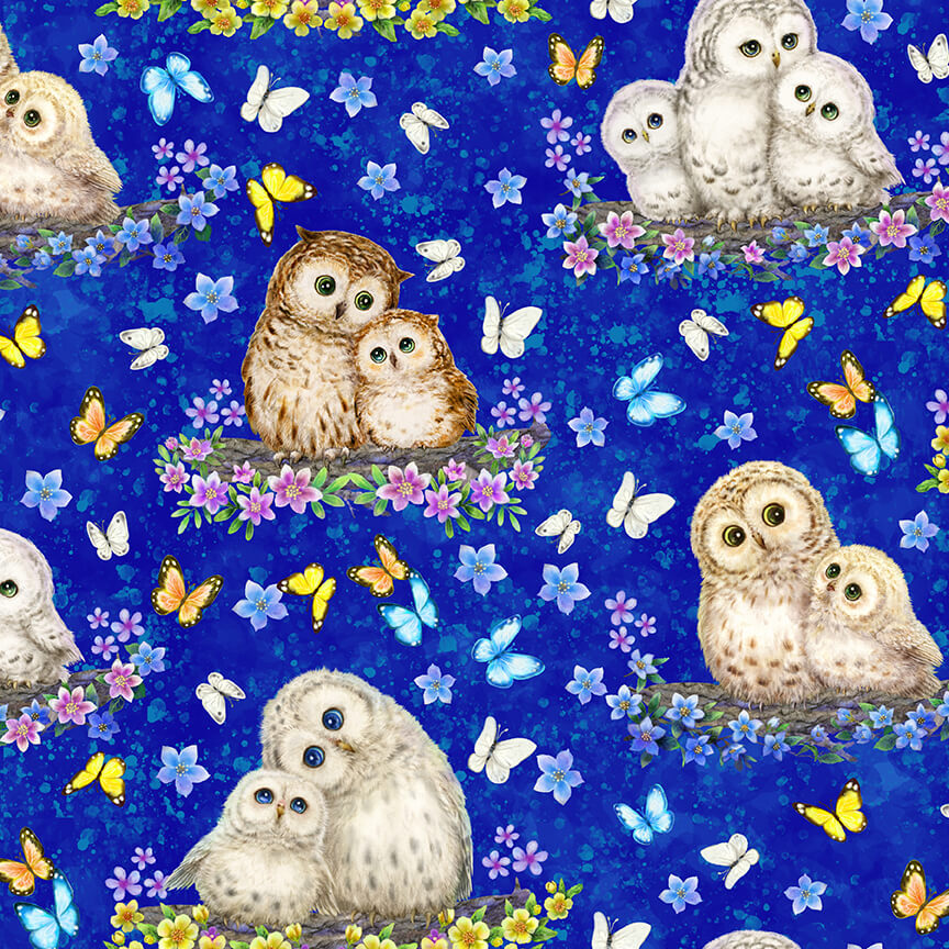 Owls and Butterflies on Royal Blue:  Epic Owls by Kayomi Harai for Studio E