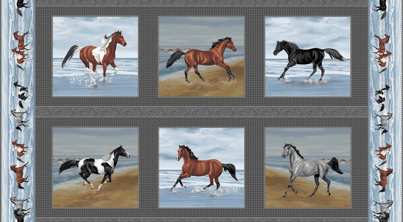 Running Free Blocks - Horses in Blocks by Kathleen Hall for Studio E